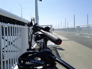 Riding the biking trail on the new Oakland Bay Bridge span.