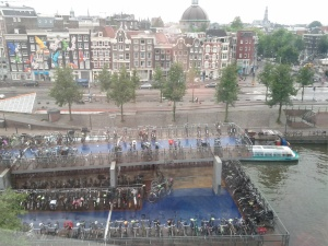 Three story bike parking garage in Amsterdam.