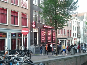 The Red Light District in Amsterdam.